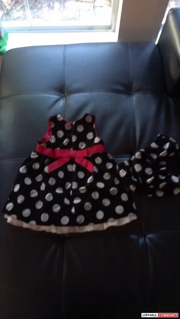 Children's Place satin lined dress with matching diaper cover 6-9 mths