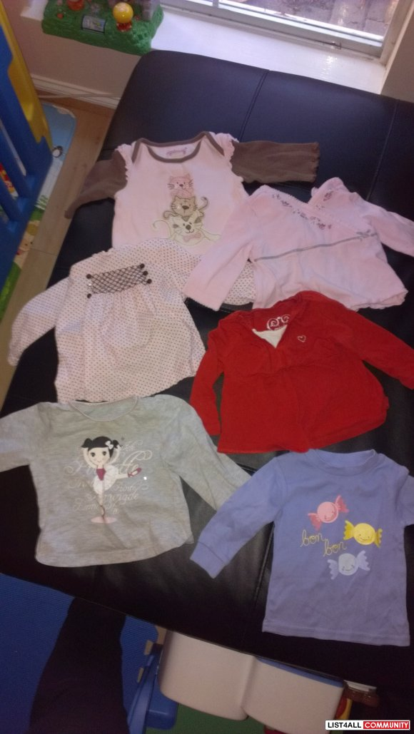 Baby Girl Long Sleeved Shirts 3-12 months - single or lot