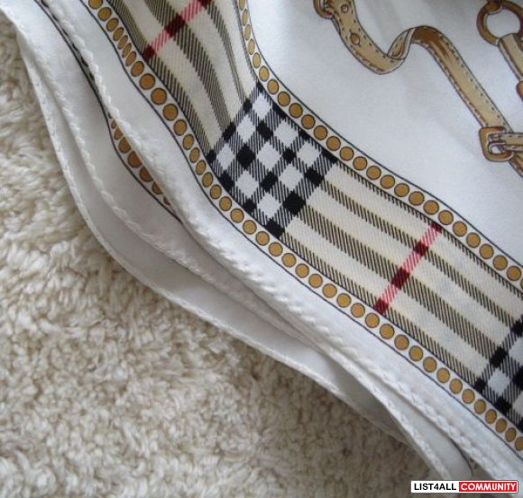 Burberry like 100% silk scarf harness cream ivory collor