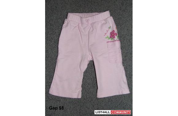 GAP pants. Size 3-6 months. Side has embroided bee and flowers above p