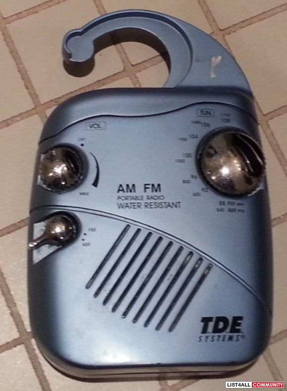 T.D.E. System Water Resistant AM/FM Shower Radio Portable