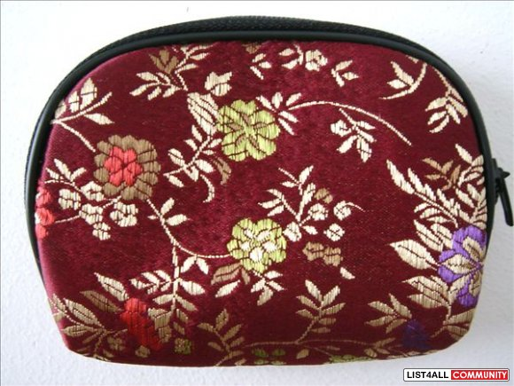 Burgundy w/ Flowers - Change / Coin Purse