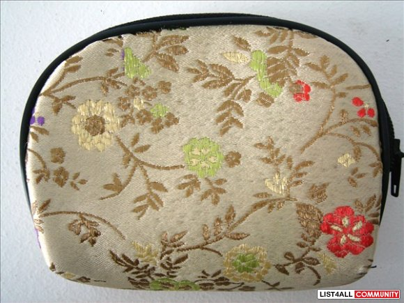 Coin / Change Purse - Gold w/ Flowers