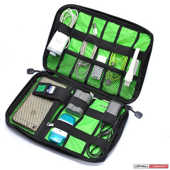 Slim Travel Cable Organizer Bag for Small Electronic Accessories - Bla