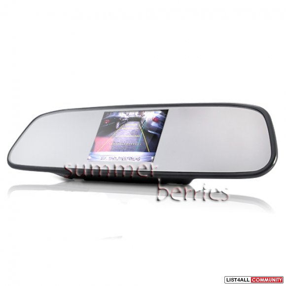 "Rearview Mirror w/ Built-In 4.3"" LCD Screen Monitor For Backup Camera"