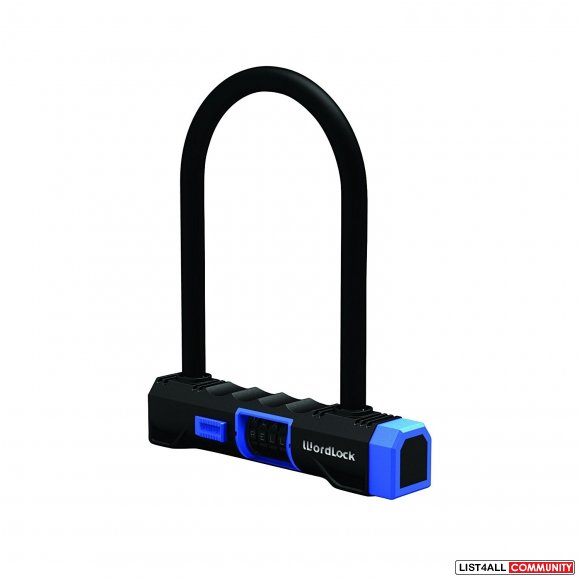 WORDLOCK Resettable Word Combination U-Lock 15mm - Black Blue