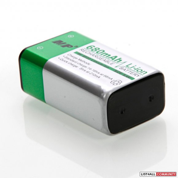 MP 680mAh 9V Li-Ion 8.4V Rechargeable Battery