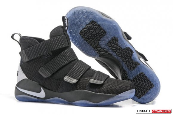 Cheap Lebron Soldier 11 Black Blue White www.lebronscheap14.com