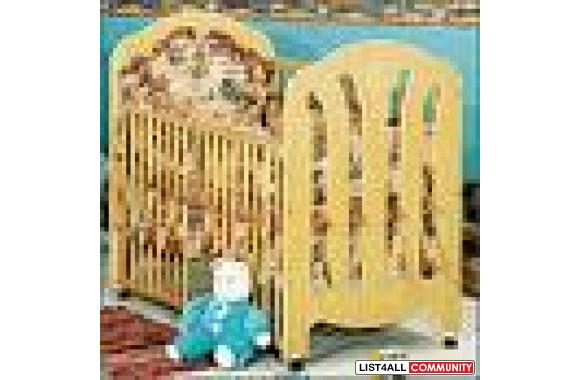 Wood look Stork Craft crib