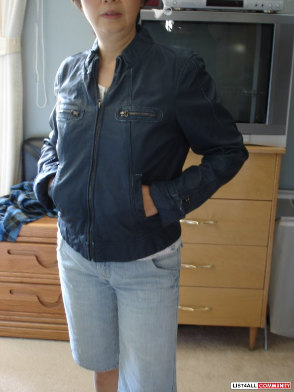 New Costa Blanca teal coloured real leather jacket, size xl (10-12)