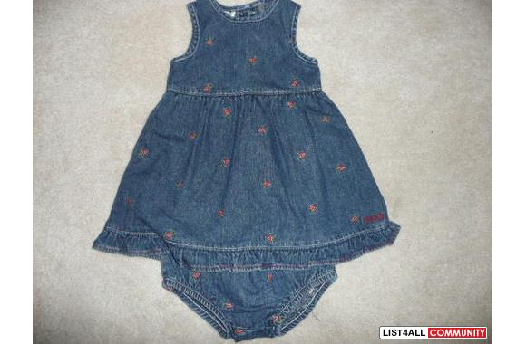 Infant Girls - 12 Month - OSH KOSH - 2-piece Jean dress embroidered wi
