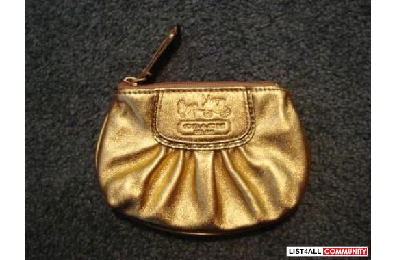 Coach Madison gold leather Coin purse/card case with key ring