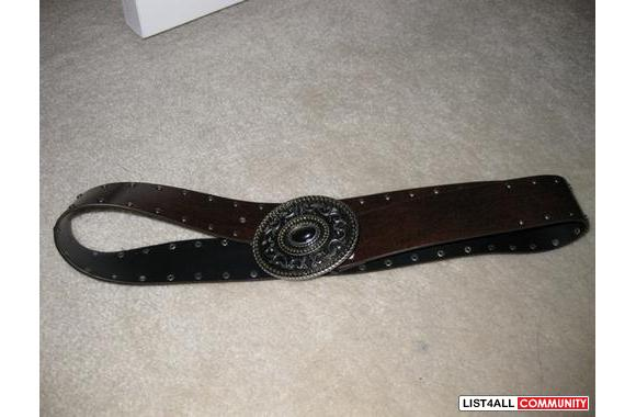 Leather Vintage Belt with studs and a metal buckle
