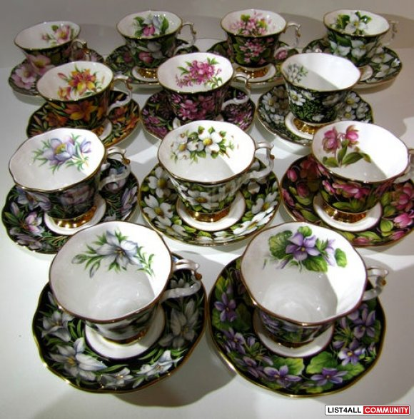Royal albert bone china provincial flowers tea cups and saucers 12 set