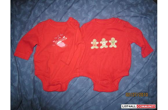 2 red diaper shirts, 1 is 0-3 months and 1 is 3-6 month but both are t