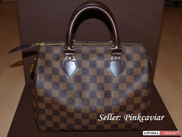 SOLD! Authentic - Louis Vuitton Damier Ebene Canvas - Speedy 25
