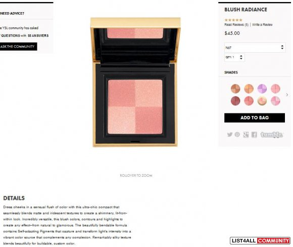 YVES SAINT LAURENT Blush Radiance compact in #7 and #8 (L.E.)