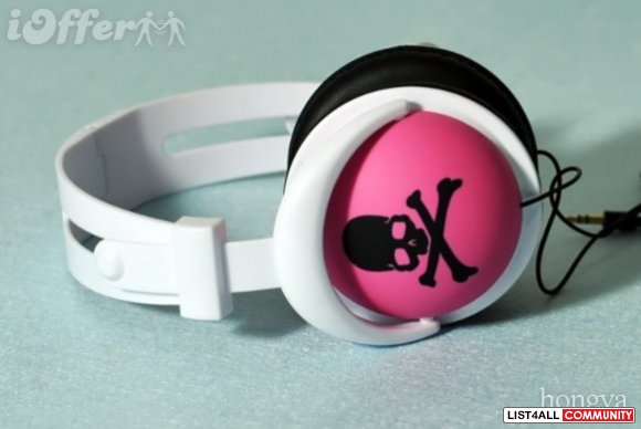 brand new mix style headphone pink with black skull
