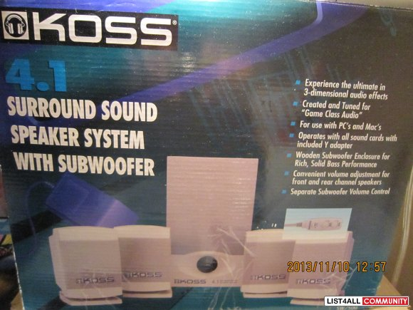 •	Koss surround sound speaker system with subwoofer   $15