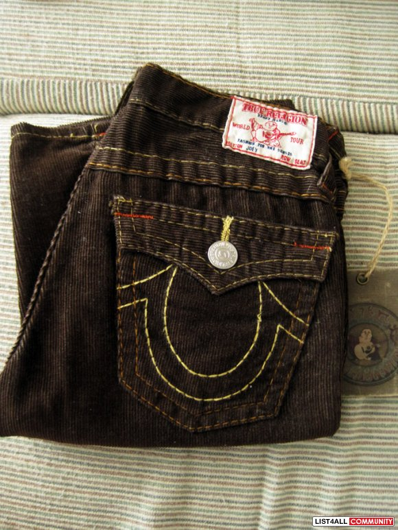 True Religion Kid's Corduroy Joeys in Brown 12 (fits women's 22 to sma