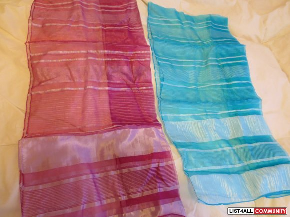 Pink or blue silky head / neck scarf / wrap