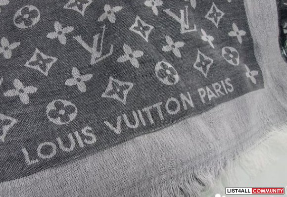 LV Monogram Denim shawl--grey