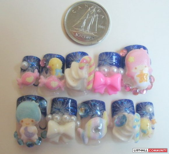 Little Twin Stars Fake Deco Nails