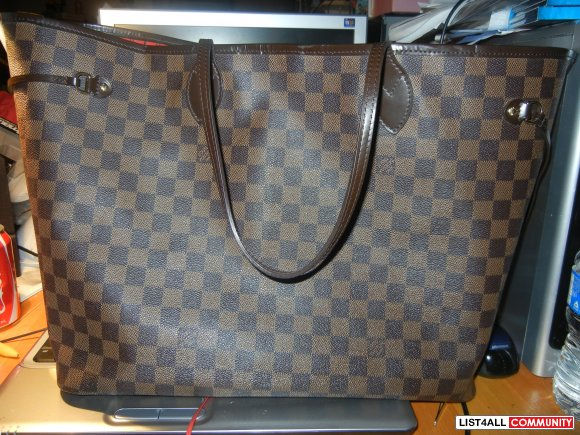 AUTHENTIC  LOUIS VUITTON Damier ebene neverfull