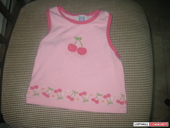 pink cherry tank top size 3T